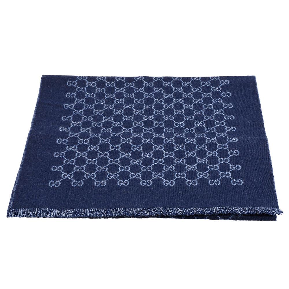 GUCCI 經典GG緹花線條羊毛雙色流蘇披巾/圍巾(海軍藍X藍-33X175cm)GUCCI