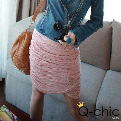 【Q-chic】層次皺摺纏繞式短窄裙 (共二色)