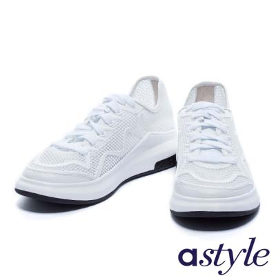 休閒鞋 astyle 經典超舒適綁帶運動休閒鞋-白
