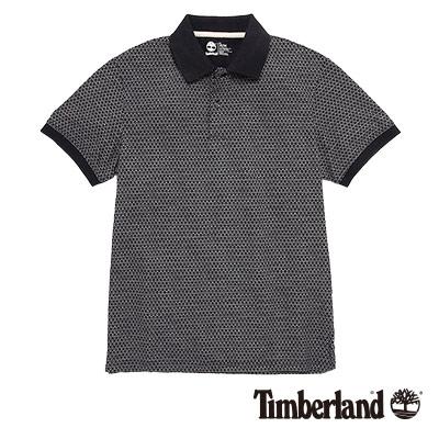 Timberland-男款深藍色印花滿版短袖POLO衫