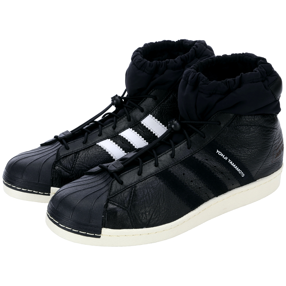 Y-3 皮革拼接束口設計休閒鞋(黑色)