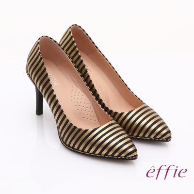 effie 時尚摩登 全真皮條紋窩心高跟鞋 金