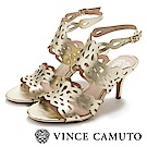 Vince Camuto 金典簍空交叉繞踝高跟涼鞋-金色