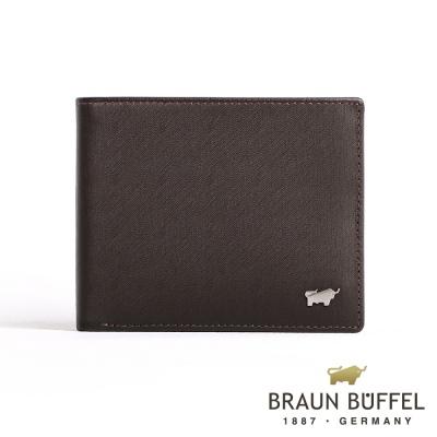BRAUN BUFFEL - HOMME-M紳士系列極光紋12卡中翻透明窗皮夾 - 咖啡