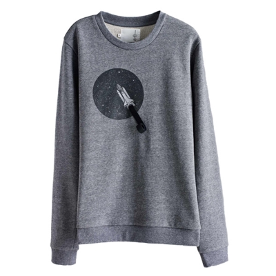 摩達客韓國進口設計品牌DBSW火箭上太空圓領長袖T恤
