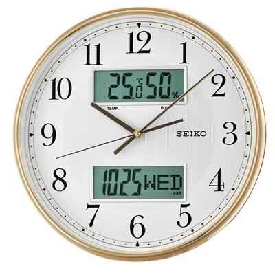 SEIKO 精工 雙顯 溫度 溼度 日期 靜音掛鐘 QXL014G ~金框 33.1cm