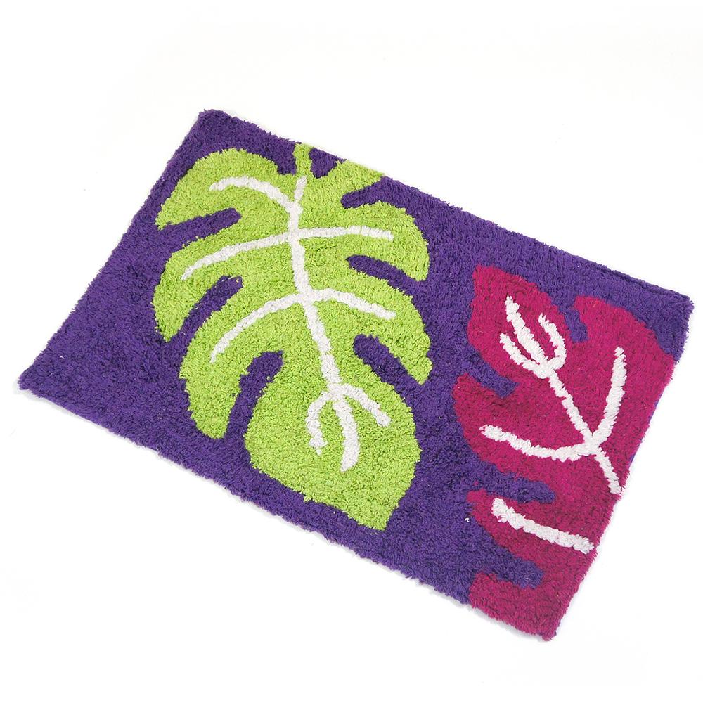 布安於室-三葉彩純棉踏墊-紫色(2入)