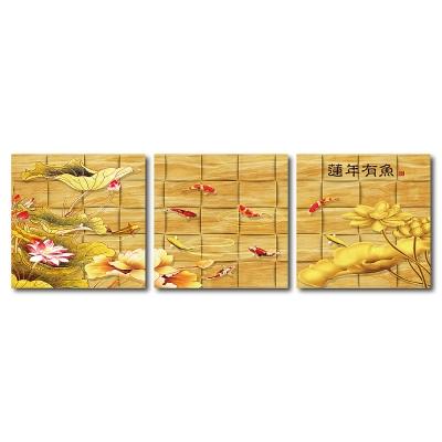 橙品油畫布-三聯無框圖畫藝術家飾品-蓮年有餘-40