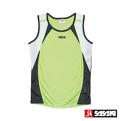 SASAKI-吸濕排汗田徑背心-女-艷綠-黑-白