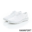 HANNFORT ZERO GRAVITY輕盈編織時尚牛津動能氣墊鞋-女-純淨白