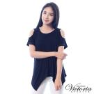 Victoria 肩挖洞中長版短袖T-女-黑色