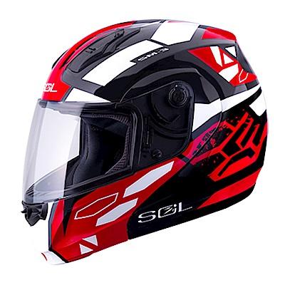 SOL SM-3M 可掀式全罩式安全帽 NIMITZ 戰將系列(黑紅白)