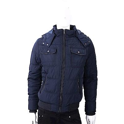 TRUSSARDI 迷彩襯裡深藍色科技棉保暖連帽外套