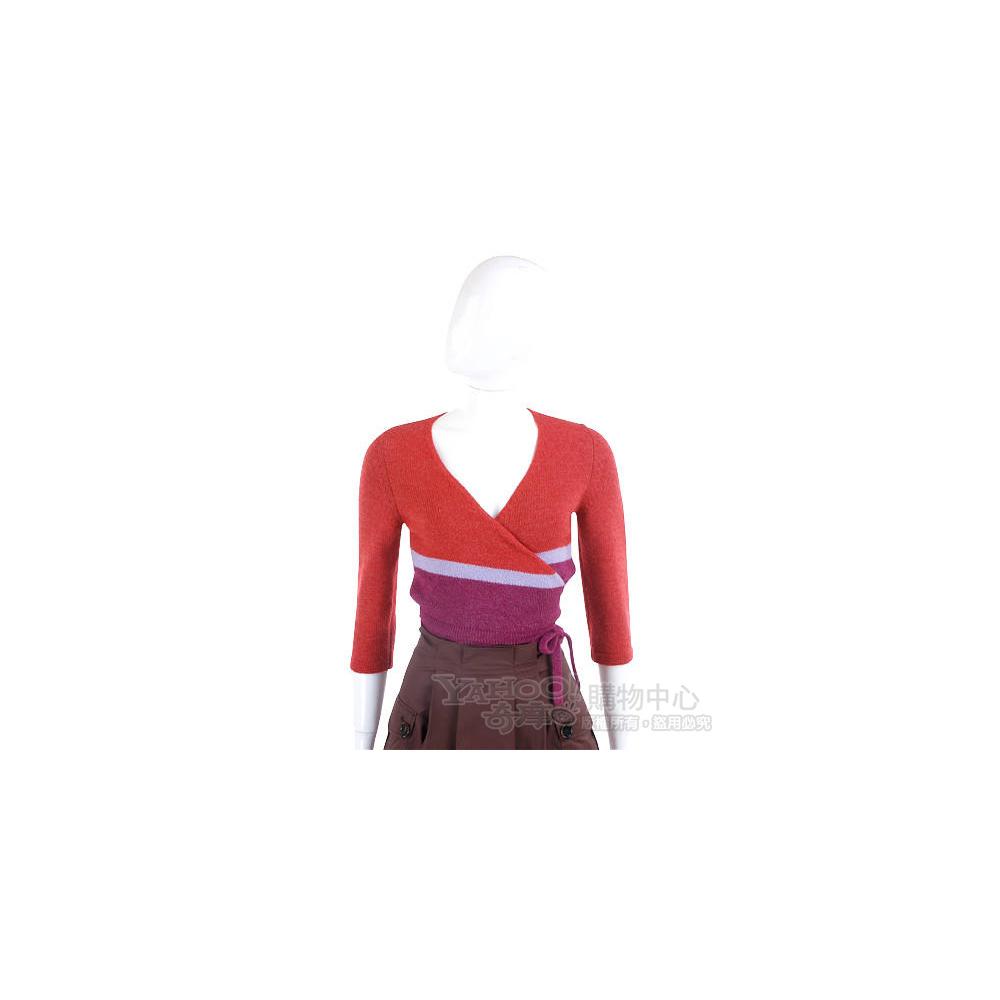 MAX MARA 紅色拼接針織綁帶小外套