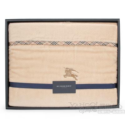 BURBERRY 經典刺繡戰馬純棉毛毯-駝
