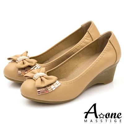 A-one-羊紋珍珠鑽寶石蝴蝶結圓頭楔型鞋-奢華杏