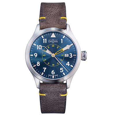 DAVOSA Neoteric Pilot 經典飛行員系列腕錶-藍面/皮帶/42mm