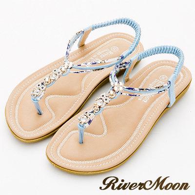 River&Moon大尺碼-沁涼晶鑽貓頭鷹編織花布T字涼鞋-淺藍