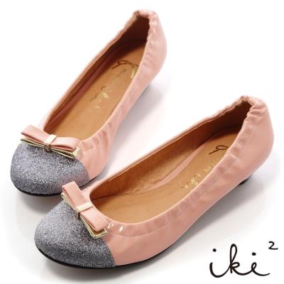 iki2華麗璀璨-金蔥拼接漆皮低跟娃娃鞋-甜蜜粉