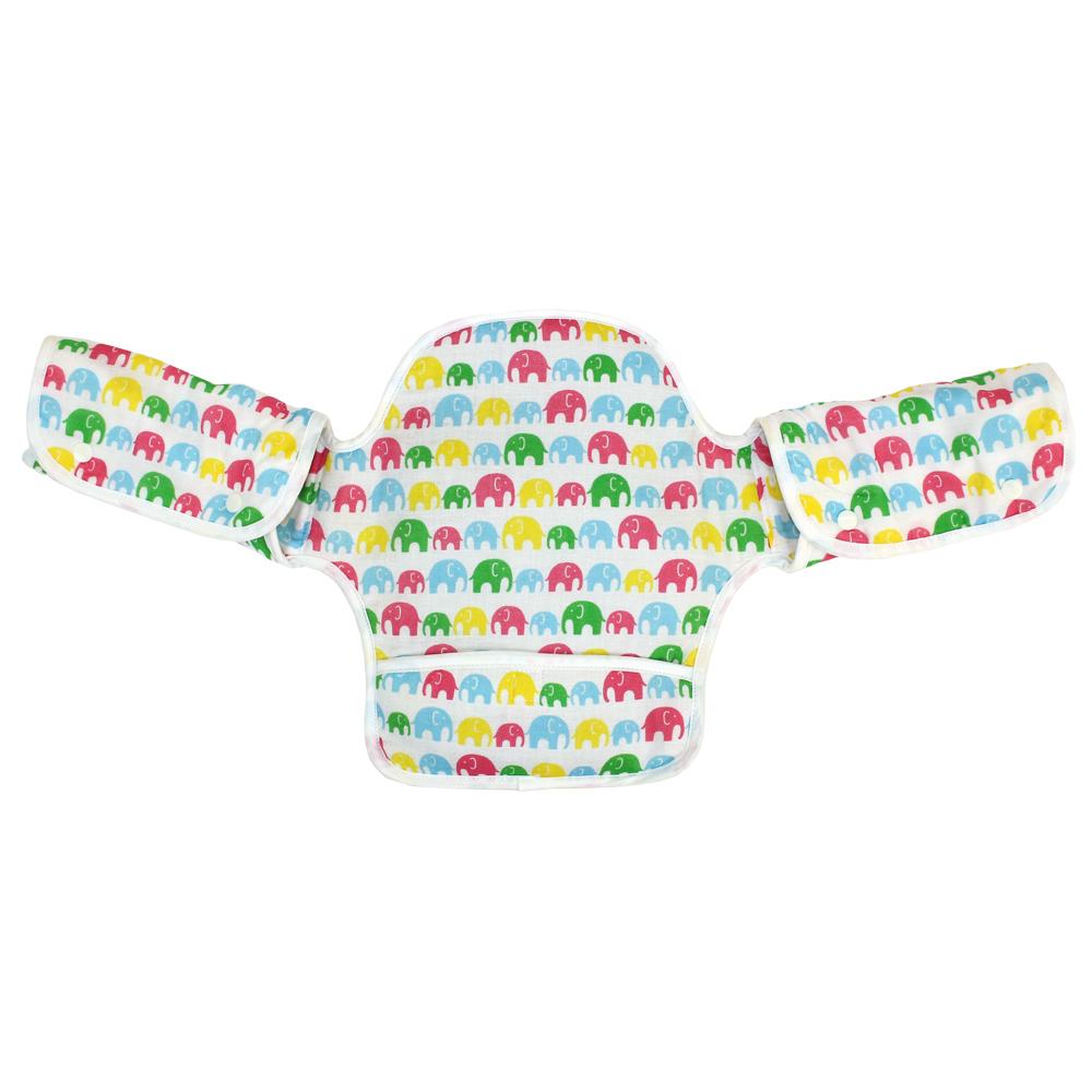 日本西村媽媽 Lucky (揹巾專用)展翅飛翔360度環繞式口水墊(白色大象)