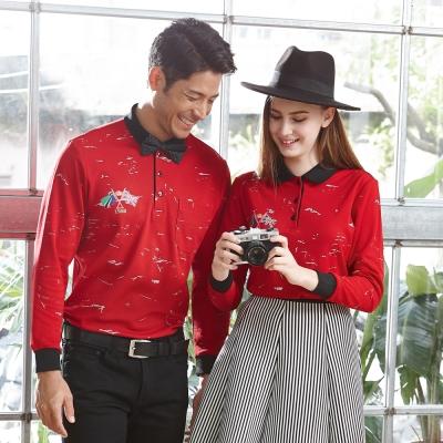 【LEIDOOE】非主流線條休閒女款長袖POLO衫-紅53285