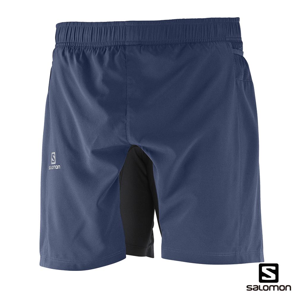 Salomon 所羅門 2-IN-1 運動短褲 FAST WING 男 藍
