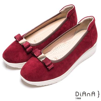DIANA 漫步雲端焦糖美人款--蝴蝶結厚底透氣楔型鞋-紅