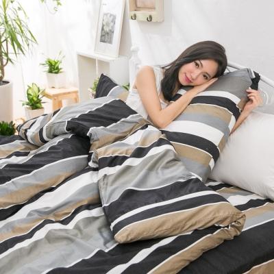 eyah宜雅 台灣製100%頂級精梳棉新式兩用被單人床包被套四件組 黑白年少不識愁滋味