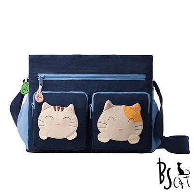 ABS貝斯貓 可愛貓咪拼布 肩背包 斜揹包 (藍) 88-217