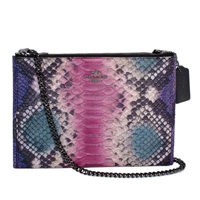 COACH紫藍桃漸層蟒蛇紋金屬鍊帶雙層斜背小包