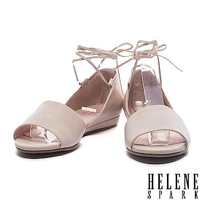 平底鞋 HELENE SPARK 柔美浪漫純色環繞繫帶羊皮一字魚口平底鞋-米
