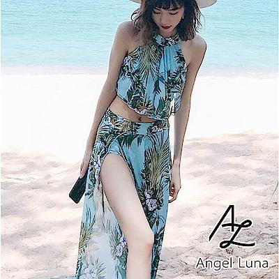 【AngelLuna】綠色印花削肩荷葉三件式比基尼泳裝(日本直送3-10天到貨)