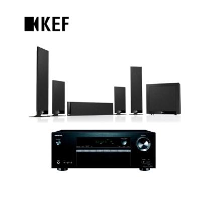 英國 KEF創新T系列T205 家庭影院超薄揚聲器黑色款+TX-SR373 影音擴大機