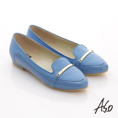 A-S-O-俐落職場-全真皮妝點條帶窩心尖頭平底鞋