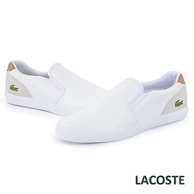 LACOSTE 男用休閒/懶人鞋-白