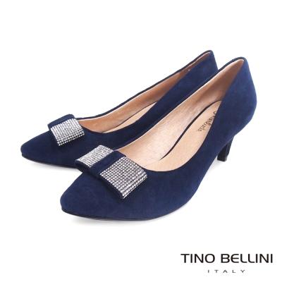 Tino-Bellini-復古女伶閃耀鑽飾跟鞋-藍