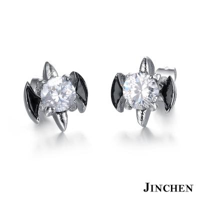 JINCHEN 白鋼蝙蝠耳環 白鑽(單個價)