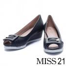 楔型鞋 MISS 21復古知性方釦牛皮魚口楔型鞋-藍
