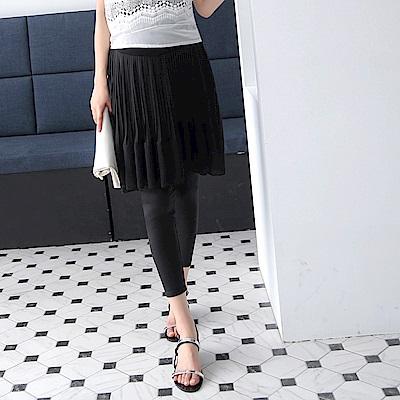 百摺雪紡拼接假兩件裙擺孕婦內搭褲‧2色-OB大尺碼