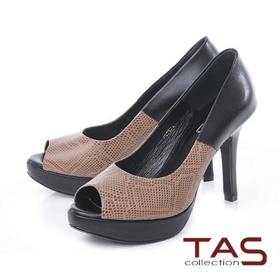 TAS 蛇紋拼接金屬後跟魚口高跟鞋-蛇紋黑