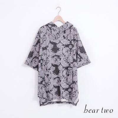 beartwo-個性連帽剪裁哥德風圖騰印花上衣-共