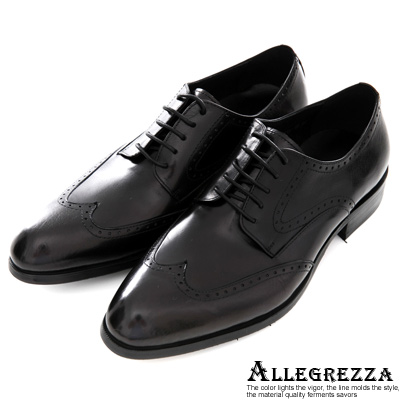 ALLEGREZZA.真皮義式翼紋皮鞋 黑
