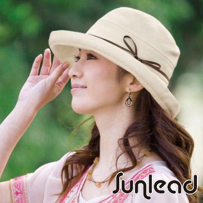 Sunlead 優雅折邊款。兩用式寬圓頂護髮透氣抗UV防曬遮陽帽 (自然棉麻色)