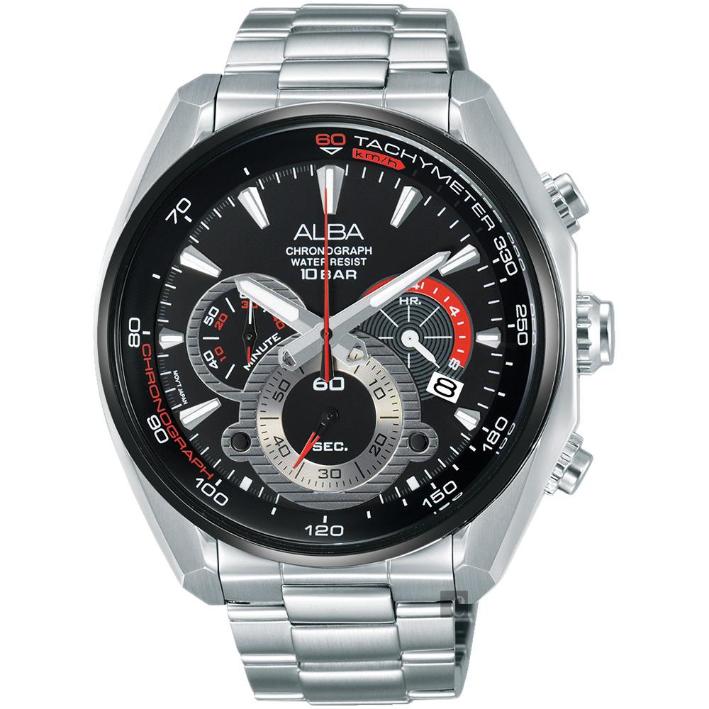 ALBA 異想空間三眼計時腕錶(AU2197X1)-黑/45mm