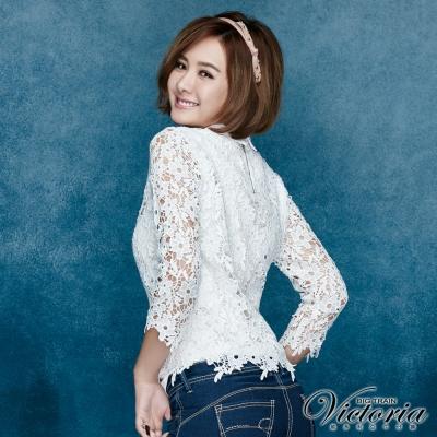 Victoria 襯衫領刺繡蕾絲七分袖T-女-白色