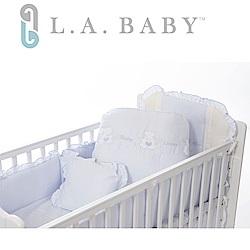 美國 L.A. Baby 天使熊純棉七件式寢具組(M)(MIT 藍色/粉色/米色)