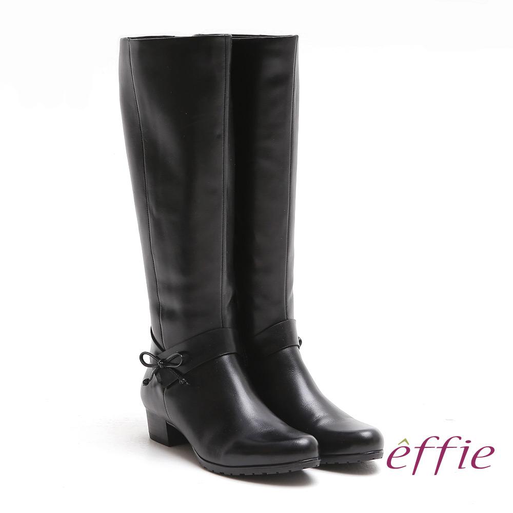 effie 都會風情 素色蠟感真皮低跟長靴 黑