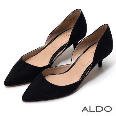 ALDO 原色亮面波浪鏤空造型細高跟鞋~尊爵黑色