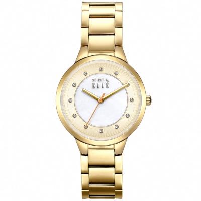 ELLE 時尚晶鑽不繡鋼時尚腕錶-淡金x白色/34mm