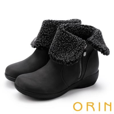ORIN 時髦流行暖呼呼 領口反毛拉鍊短靴-灰色